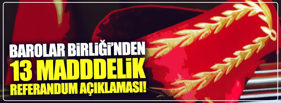 Türkiye Barolar Birliği'nden 13 maddelik referandum açıklaması