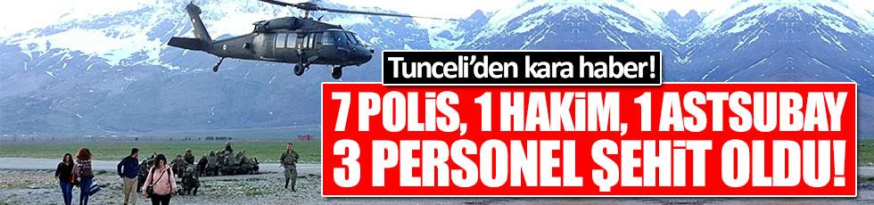 Tunceli'den kara haber: 7 polis, 1 hakim, 1 astsubay ve 3 mürettebat şehit oldu