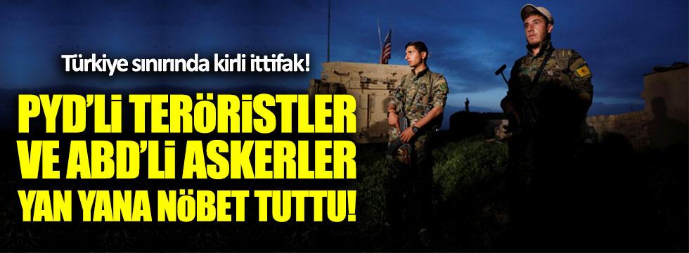 ABD askerleri, PYD'li teröristlerle Türkiye sınırında nöbet tuttu