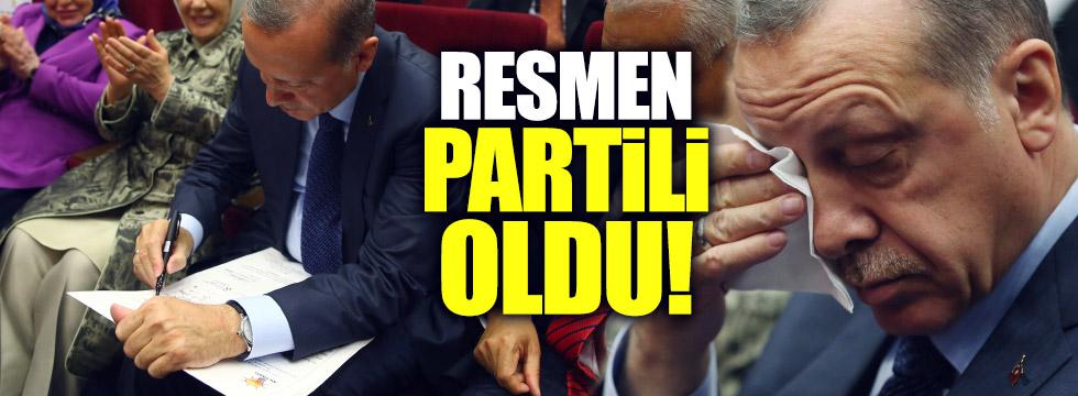 """Erdoğan resmen """"Partili"""" oldu"""
