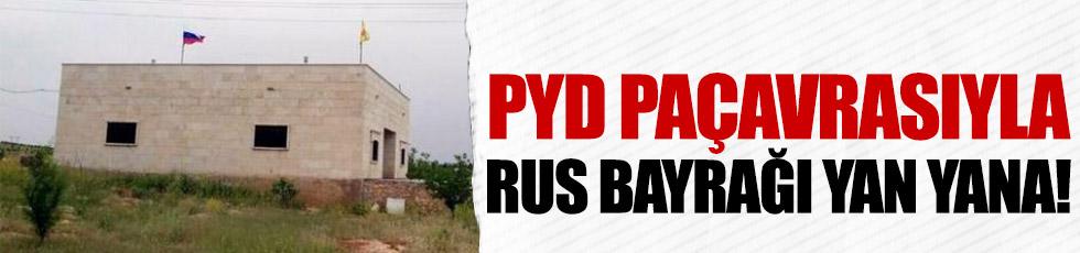 Rus bayrağıyla YPG paçavrası yan yana!