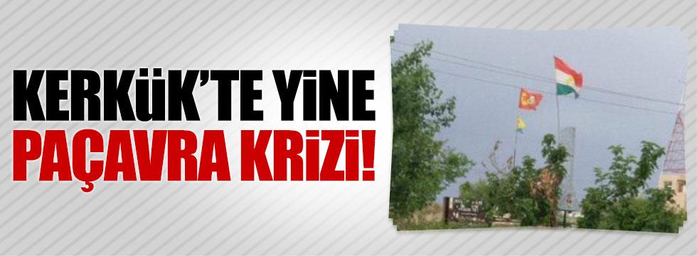 PKK'lı teröristler Kerkük'te paçavra astı