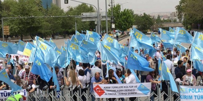 Ankara'da Kırım Türkleri Sürgünü Mitingi