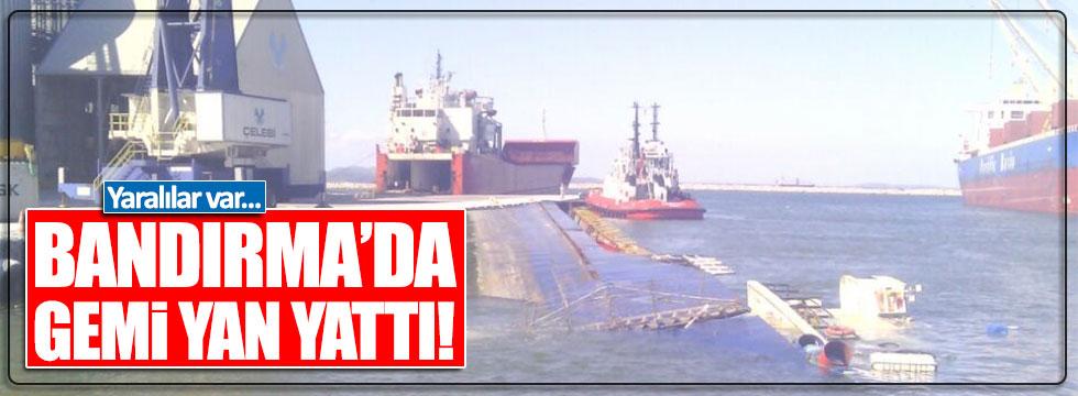 Balıkesir'de gemi yan yattı