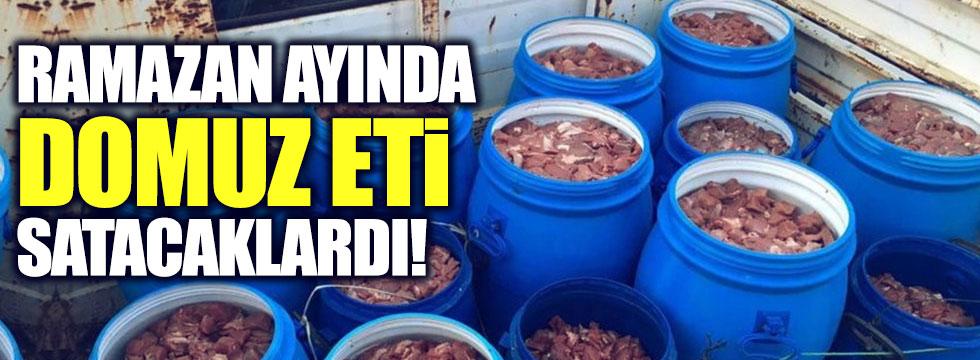 Ramazan ayında domuz eti satacaklardı