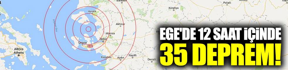 Ege'de 12 saat içinde 35 deprem
