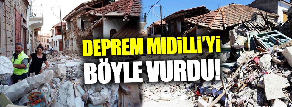 Midilli'de depremin hasarı ortaya çıktı