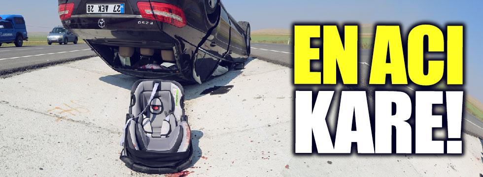 En acı kare: Karaman'daki kazada 1 çocuk yaşamını yitirdi..