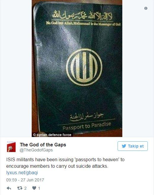 IŞİD militanlarına 'cennet pasaportu'