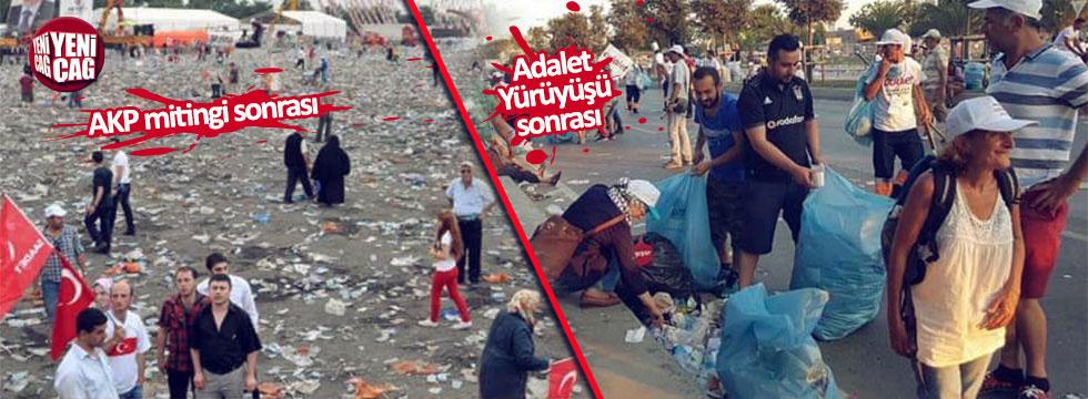 Adalet Mitingi'ne katılanlar yerde bir tane çöp bırakmadı!