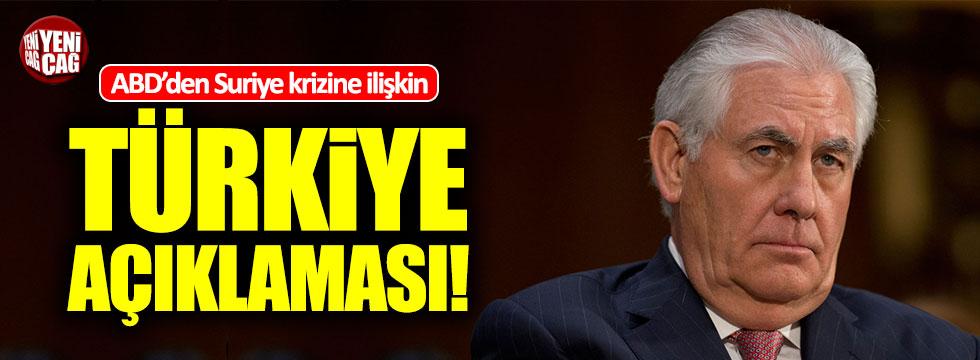 ABD'den Suriye krizine ilişkin Türkiye açıklaması!
