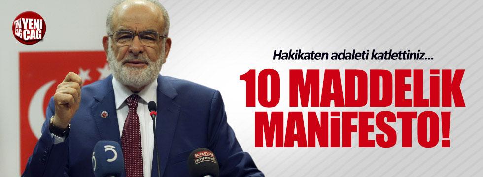 Saadet Partisi'den 10 maddelik manifesto!
