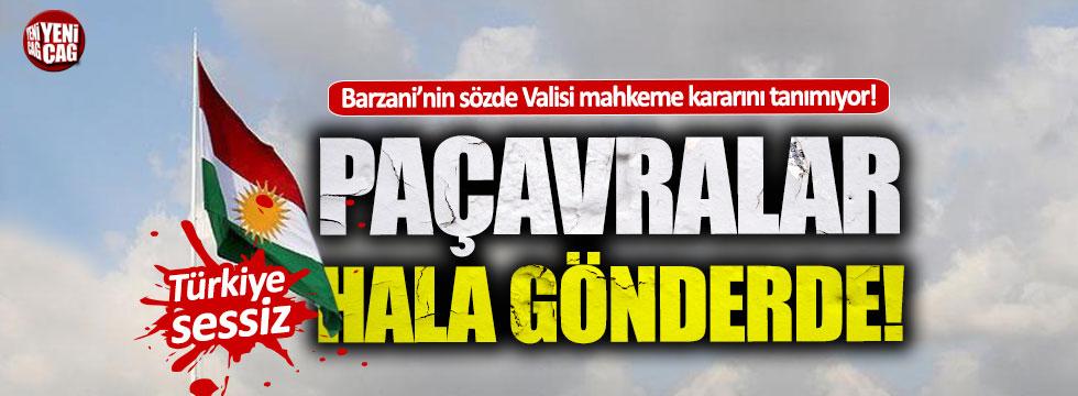 Barzani sözde Kürdistan bayraklarını indirmiyor!
