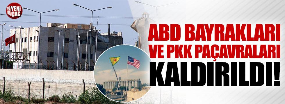Sınırdaki ABD bayrakları ve PYD/PKK paçavraları kaldırıldı