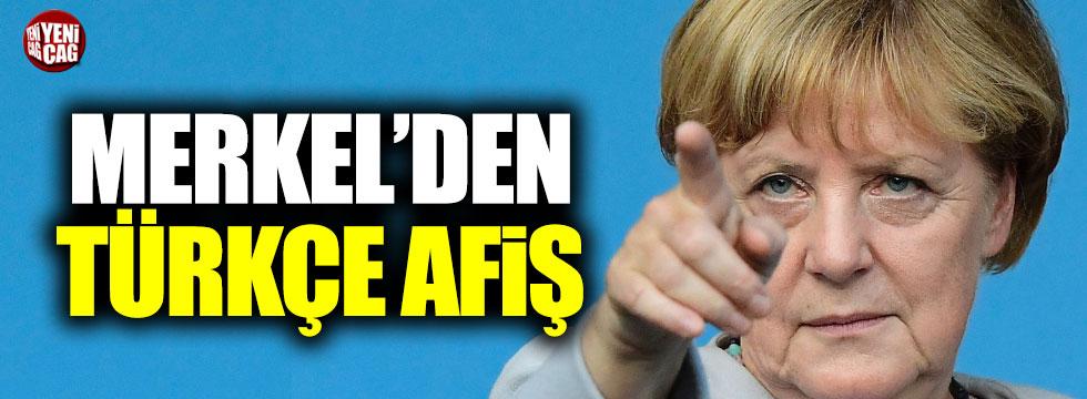 Merkel'den Türkçe afiş
