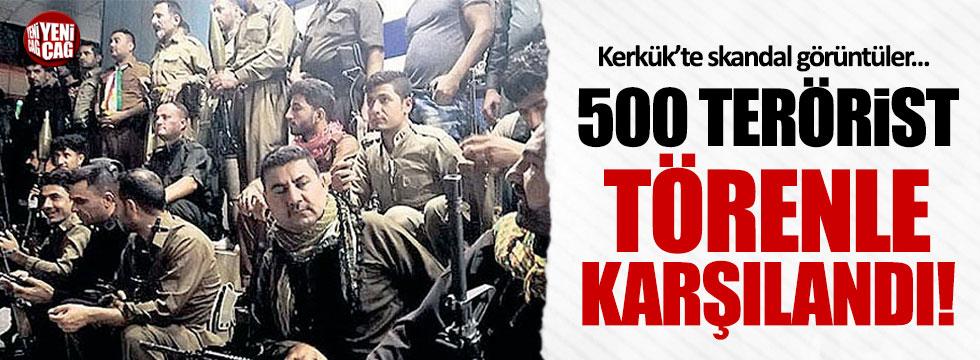 Kerkük'te skandal görüntüler... 500 terörist törenle karşılandı!