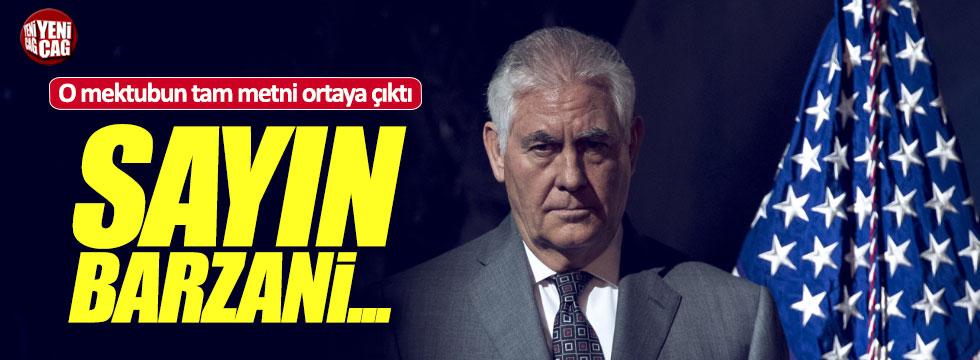 "ABD'den Barzani'ye mektup: ""Sayın Barzani..."