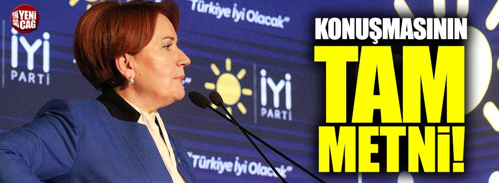 Meral Akşener'in konuşmasının tam metni