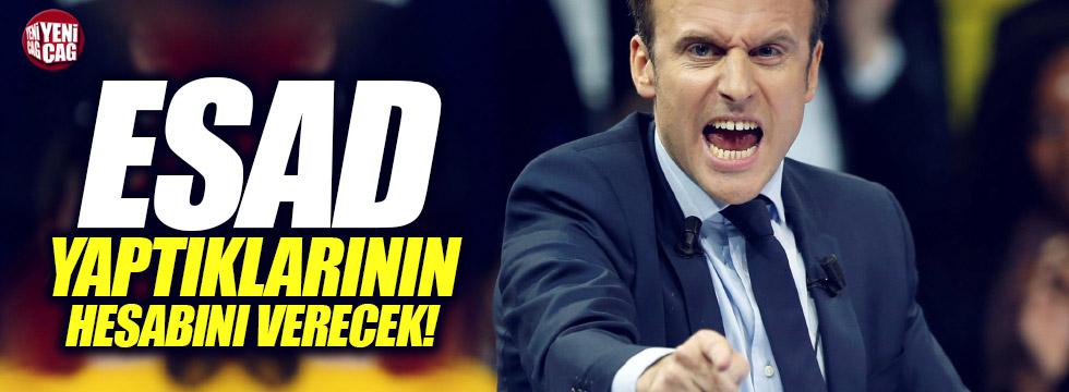 """Macron,""""Esad yaptıklarının hesabını verecek"""""""