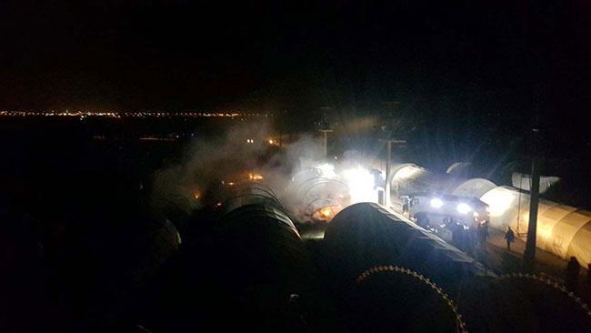 Mardin'de polislerin kaldığı çadır kentte yangın çıktı