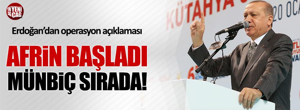 """Erdoğan: """"Afrin operasyonu fiilen başladı"""""""