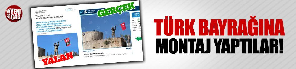 PKK yandaşları Türk bayrağına montajla yalan üretti