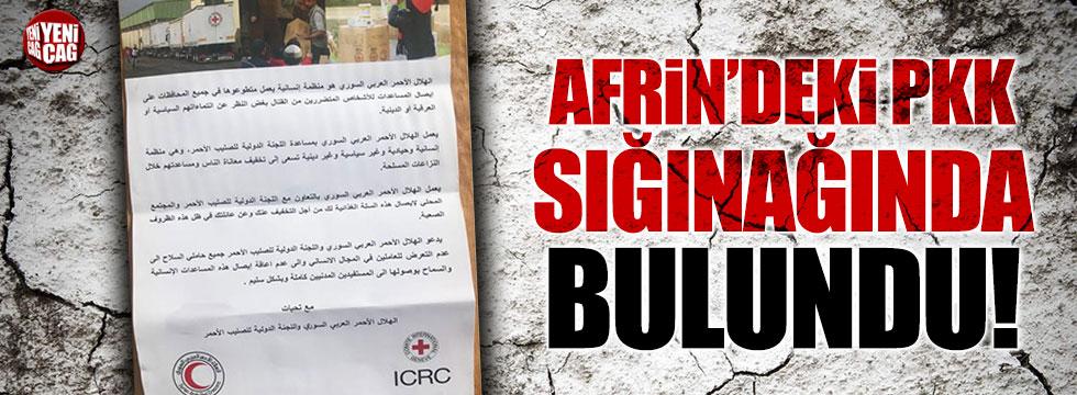 Afrin'deki PKK sığınaklarında Kızılhaç yardımı bulundu