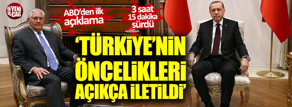 Erdoğan-Tillerson zirvesinin ardından ilk açıklama
