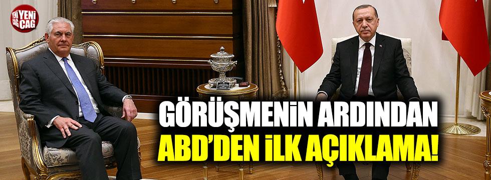 Erdoğan-Tilerson görüşmesi ardından ABD'den ilk açıklama