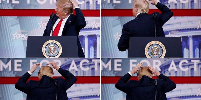 Trump, milyonların önünde keliyle dalga geçti