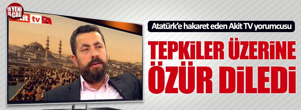 Canlı yayında Atatürke hakaret etti, tepki üzerine özür diledi
