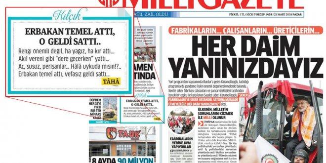 Milli Gazete'den iktidara şeker fabrikası tepkisi