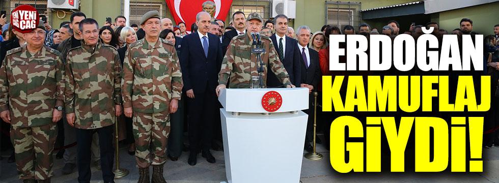 Erdoğan kamuflaj giydi