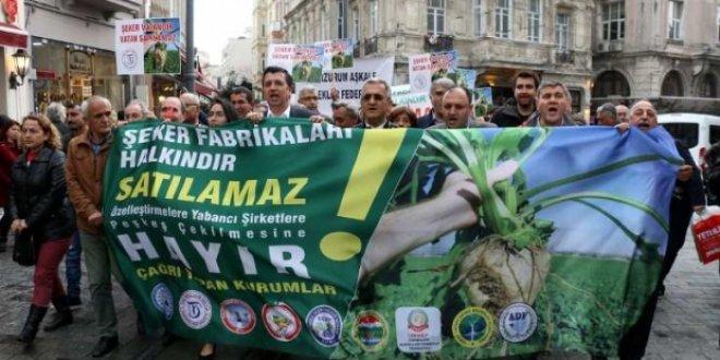 Taksim'de şeker fabrikası eylemi