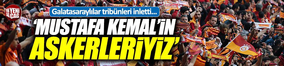"""Galatasaray taraftarından """"Mustafa Kemal'in Askerleriyiz"""" sloganları"""