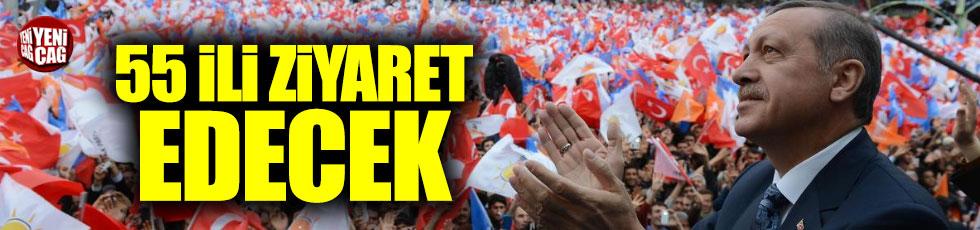 Erdoğan'dan 55 şehirde seçim mitingi
