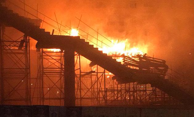 Hızlı tren istasyonunda yangın