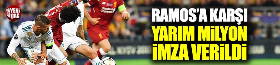 Salah'ı sakatlayan Ramos için yarım milyon imza