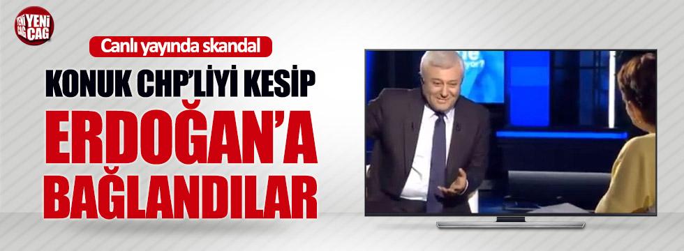 Konuk CHP'liyi kesip Erdoğan'a bağlandılar