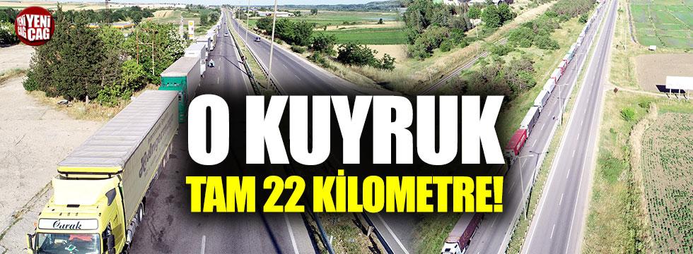 Kapıkule'de 22 kilometrelik TIR kuyruğu