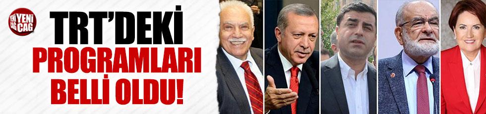 Adayların TRT'deki programları belli oldu