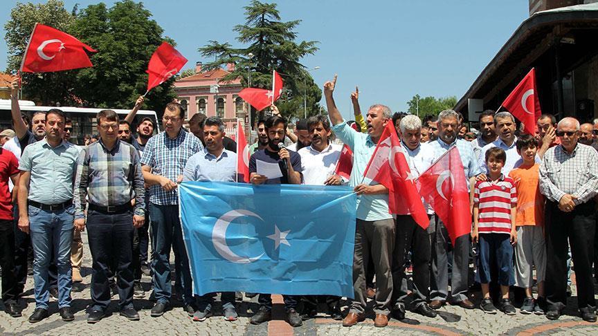 Edirne'de 'Doğu Türkistan' protestosu düzenlendi