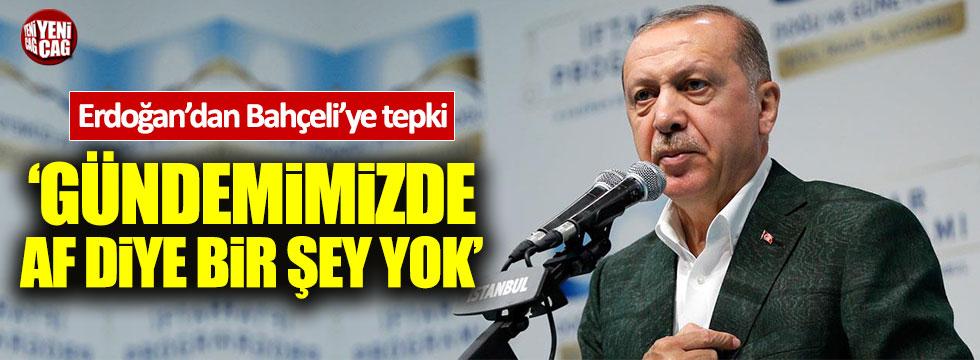 Erdoğan'dan Bahçeli'ye af tepkisi