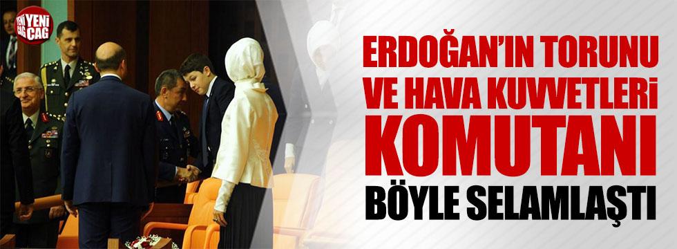 Hava Kuvvetleri Komutanı ve Erdoğan'ın torunu böyle selamlaştı