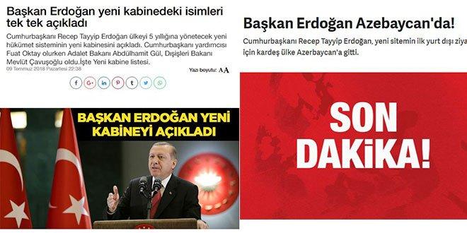 Hükümete yakın medya 'Başkan Erdoğan' dedi