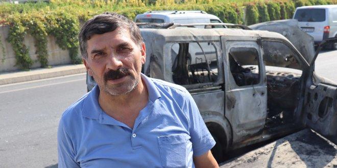 Bir saat önce aldığı araç alev alev yandı