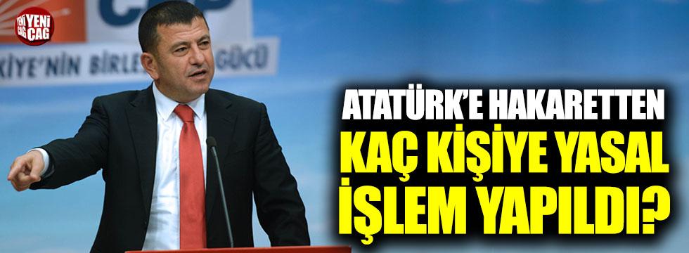 """CHP: """"Atatürk'e hakaretten kaç kişi hakkında yasal işlem başlatıldı?"""""""