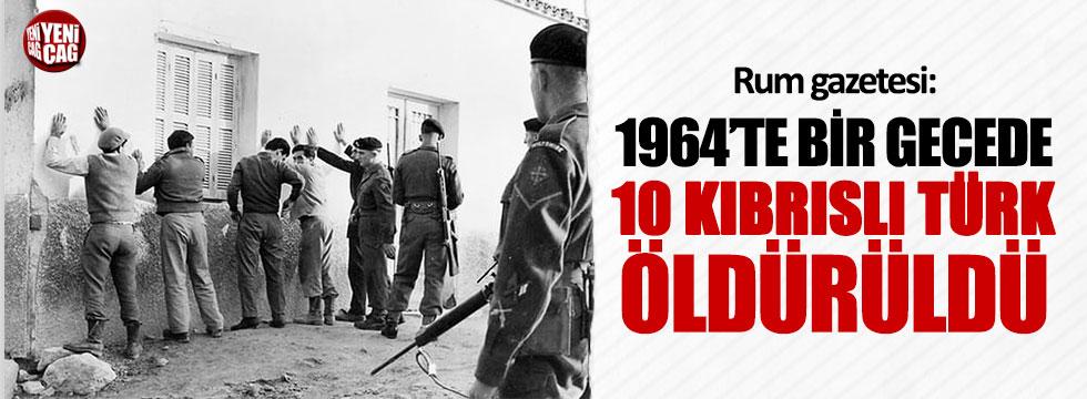 Rum gazetesi: 1964'te bir gecede 10 Kıbrıslı Türk öldürüldü