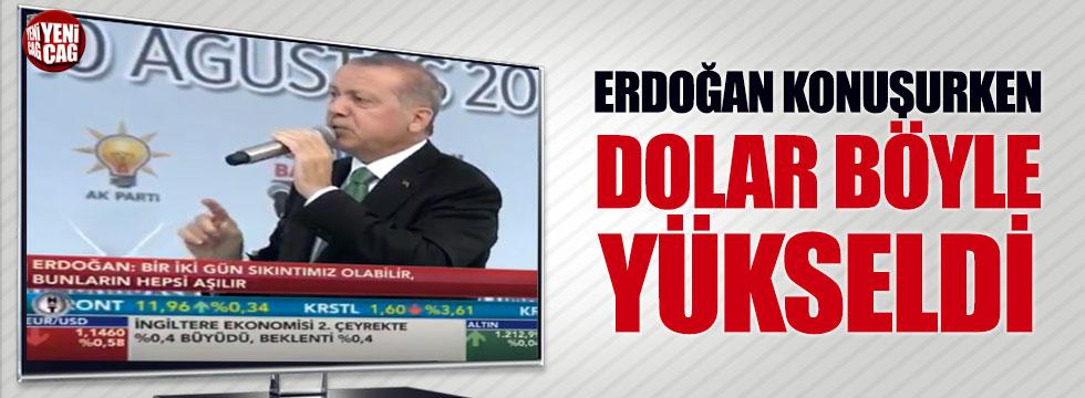 Erdoğan konuşurken dolar böyle yükseldi