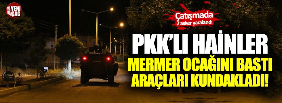 PKK'lı hainler mermer ocağını basıp araçları kundakladı